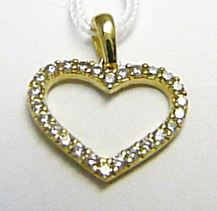 Zlatý přívěsek se zirkony 26 ks - zlaté srdce / srdíčko 585/0,94 gr H386