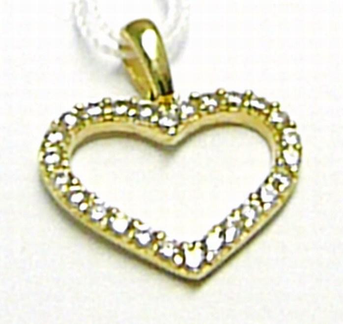 Zlatý přívěsek se zirkony 26 ks - zlaté srdce / srdíčko 585/0,94 gr H387