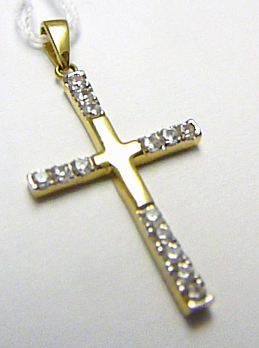 Luxusní velký mohutný zlatý křížek - přívěsek se zirkony 585/1,60 gr H389
