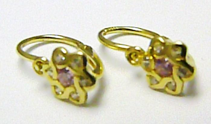 Dětské zlaté náušnice s čirými a růžovými zirkony pro holčičky 585/0,90gr P370