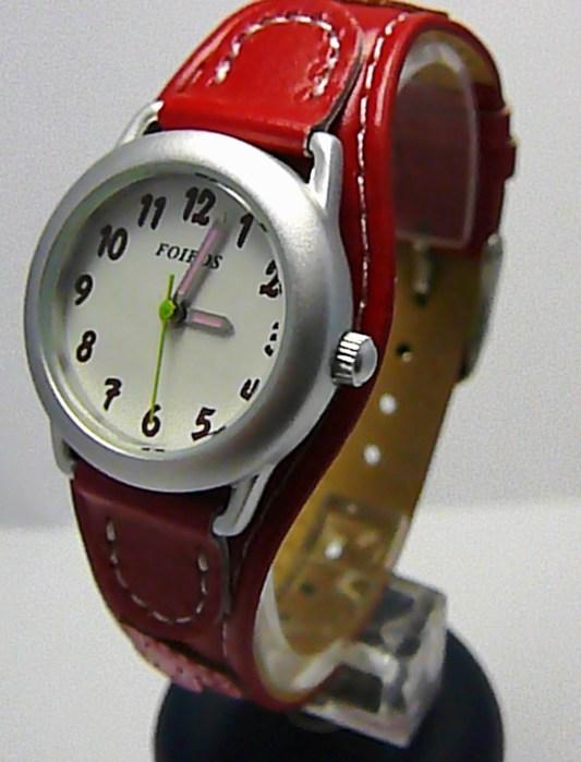 Červené dívčí dětské hodinky Foibos 1578.1 se srdíčkovým páskem
