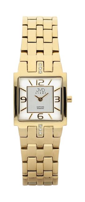 Dámské luxusní hodinky JVD steel J4034.1 s diamanty a safírovým sklem