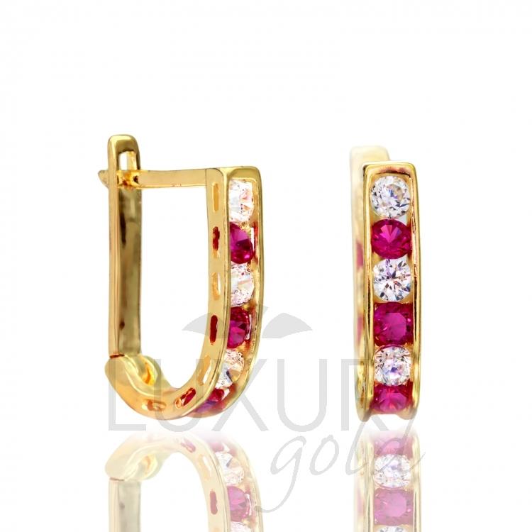Luxusní dámské zlaté náušnice se zirkony a červenými rubíny 585/1,40 gr P557 (1131090 - DOPRAVA ZDARMA!!)