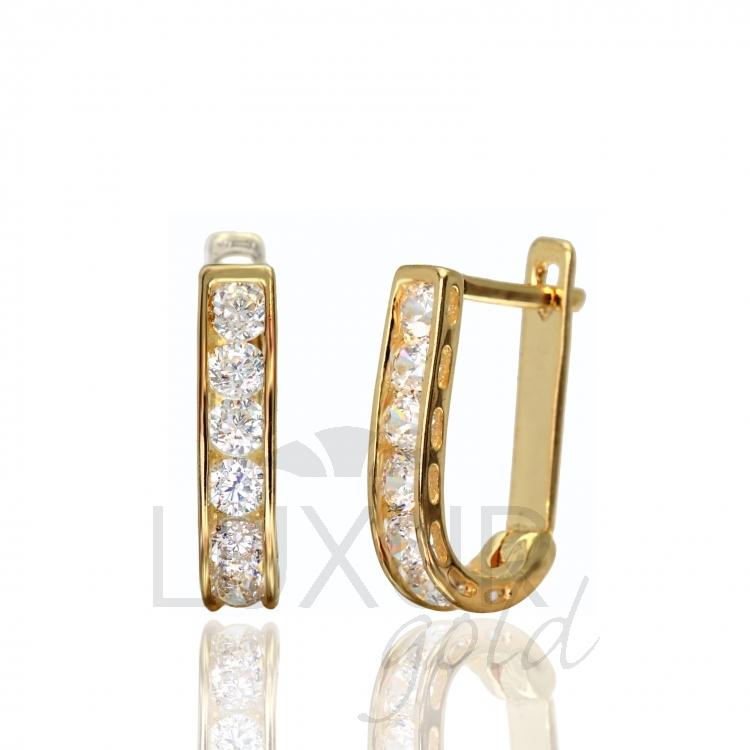 Luxusní dámské zlaté náušnice se zirkony a červenými rubíny 585/1,37 gr 1131090 (1131090)