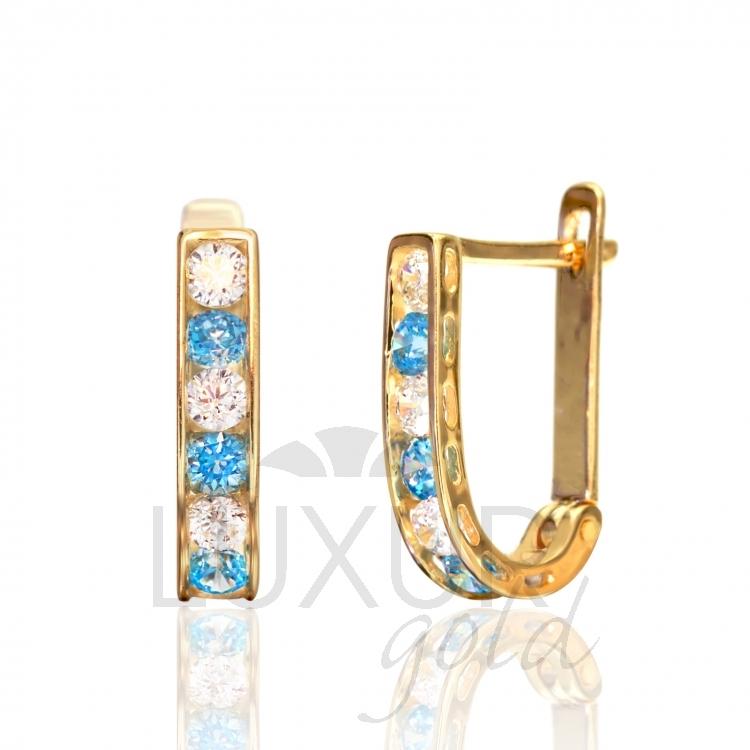 Luxusní dámské zlaté náušnice se zirkony a modrými tyrkysy 585/1,40gr 1131090-0- (1131090-0-0-23)