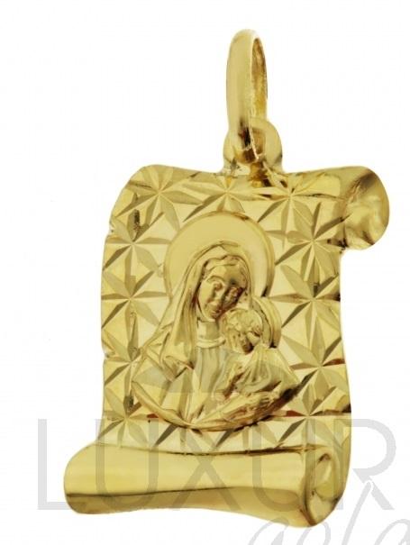 Zlatý přívěsek - zlatá madonka na pergamenu s gravírováním 585/1,1gr P392 (1322333-0-0-0)
