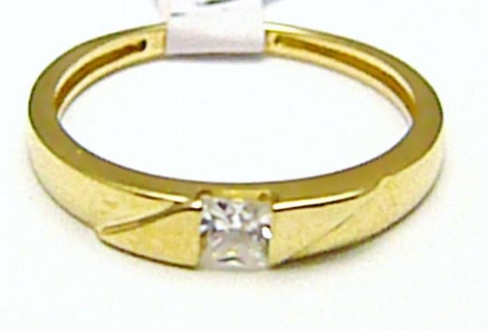 Mohutný zásnubní zlatý prsten se zirkonem 1 ks 585/1,61 gr vel. 52 H404