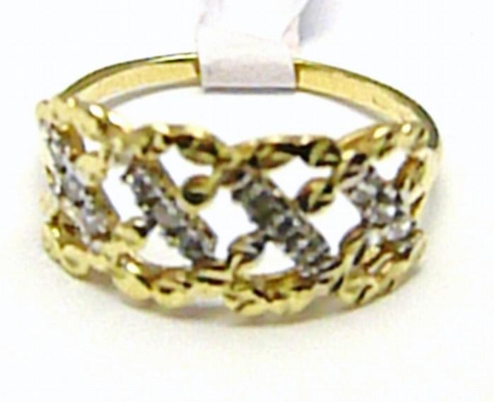 Mohutný velký zlatý prsten se zirkony 12 ks 585/1,87 gr vel. 56 H405