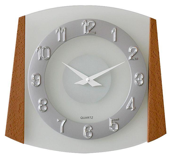 Dřevěné skleněné nástěnné hodiny JVD quartz N14029/11
