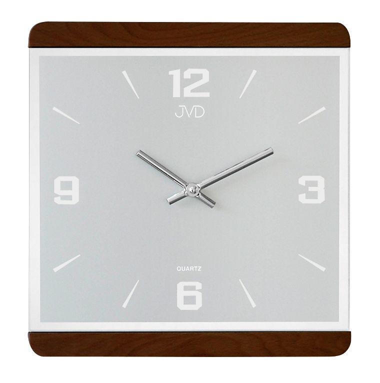 Dřevěné skleněné hodiny JVD quartz N13058/23 se zrcadlovými číslicemi