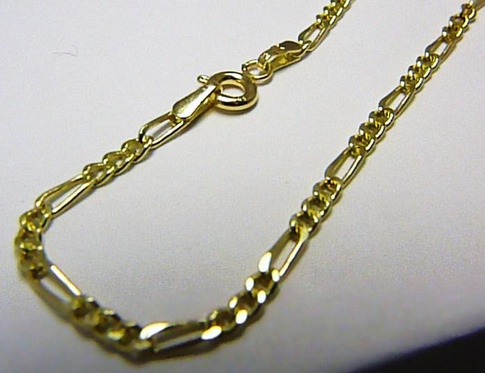 Mohutný dámský silný zlatý řetěz řetízek - FIGARO 585/1,00gr 45cm H412