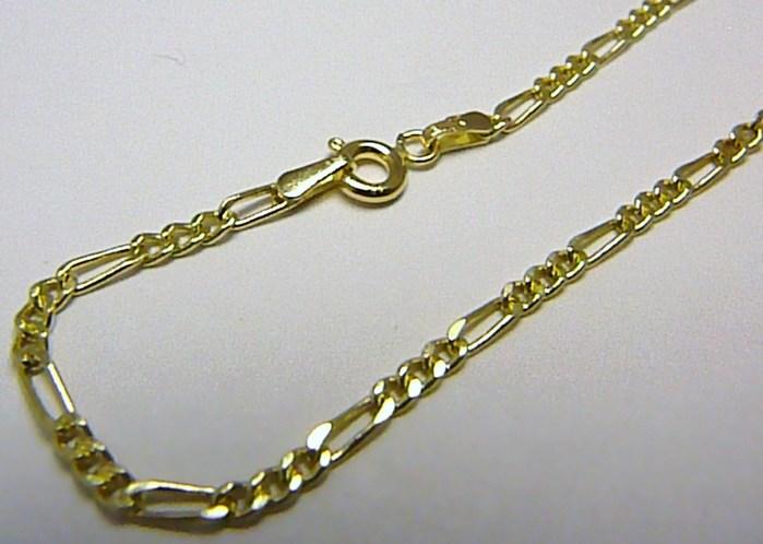 Pevný pánský prodloužený zlatý řetěz řetízek - figaro 585/2,45gr 55cm P651