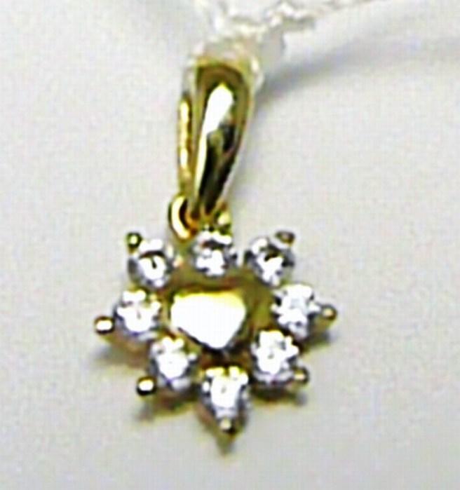 Zlatý srdíčkový přívěsek se zirkony 8 ks 585/0,50 gr H415