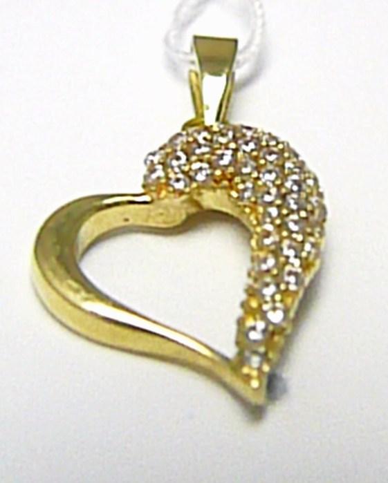 Luxusní velké zlaté srdíčko - přívěsek se zirkony 585/1,45 gr H422