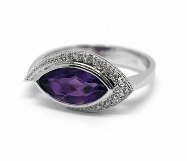 Diamantový prsten s brazilským ametystem (1,714ct) 585/3,75 gr J-22462-13