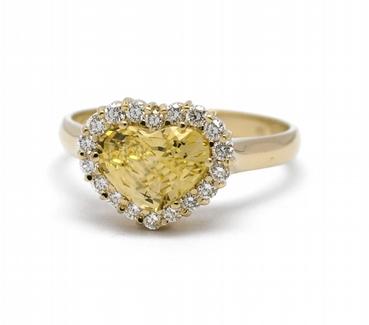 Diamantový prsten se žlutým safírem (2,20ct) 585/3,37 gr J-22501-13