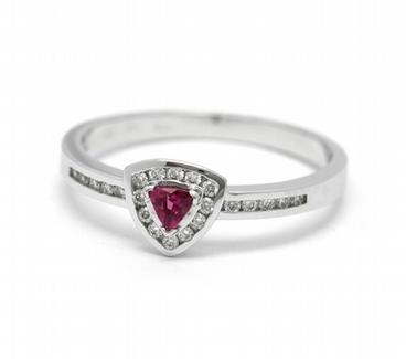 Luxusní zásnubní diamantový prsten s červeným turmalínem 585/2,2 gr J-22192-13