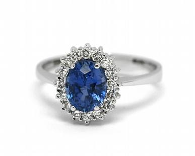 Luxusní diamantový prsten s modrým safírem (1,813ct) 585/2,95 gr J-22139-13