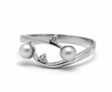 Luxusní diamantový prsten se sladkovodními perlami 585/2,90 gr J-21892-12