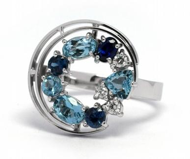 Luxusní prsten se safírem,akvamarínem a diamanty 585/4,88 gr J-21358-12
