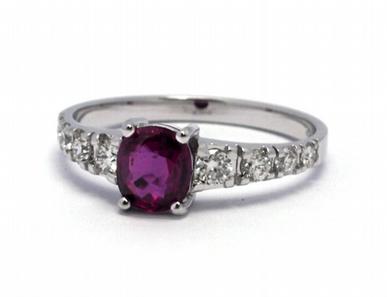 Luxusní zásnubní diamantový prsten s rubínem 585/2,17 gr J-21386-12