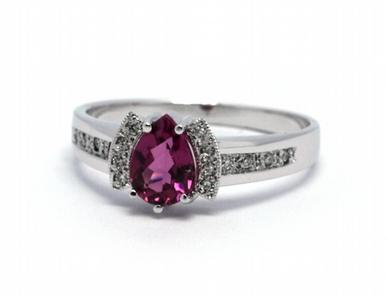 Luxusní zásnubní diamantový prsten s turmalínem 585/2,98 gr J-21426-12