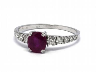 Luxusní zásnubní prsten s červeným rubínem 585/1,51 gr J-19203-12
