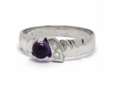 Luxusní zásnubní prsten s fialovým ametystem 585/2,72 gr J-17324-12 (J-17324-12)