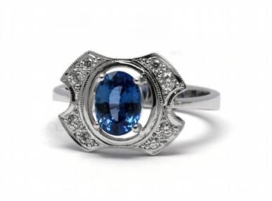 Diamantový prsten s modrým safírem Srí Lanka 585/3,58 gr J-18115-12
