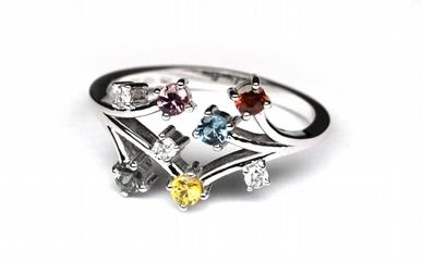 Diamantový prsten s 5ti přírodními kameny 585/2,92 gr J-19900-11