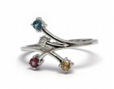 Diamantový prsten se čtyřmi přírodními kameny 585/2,01 gr J-19898-11