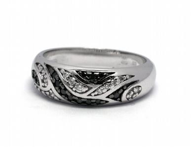 Luxusní zásnubní diamantový prsten černé diamanty 585/4,69 gr J-21073-12