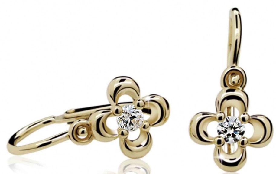 Dětské náušnice žluté zlato s růženínem 585/1,05 gr P394 (4030018)