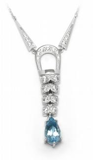 Šperkový diamantový náhrdelník s brazilským akvamarínem 585/5,59gr J-22537-13