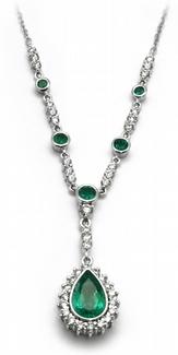 Šperkový diamantový náhrdelník s kolumbijským smaragdem 585/4,92gr J-22263-13