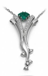 Šperkový diamantový náhrdelník se zeleným smaragdem 585/7,64gr J-22257-13