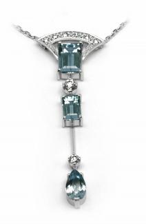 Šperkový diamantový náhrdelník s brazilským akvamarínem 585/3,60gr J-22053-13