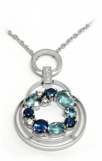Šperkový náhrdelník se safírem, akvamarínem a diamanty 585/8,54gr J-21359-12