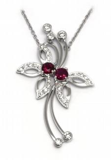 Šperkový diamantový náhrdelník s přírodním rubínem 585/4,65gr J-21047-12
