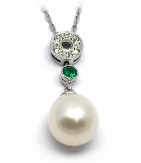 Šperkový náhrdelník s kolumbijským smaragdem a perlami 585/2,63gr J-21266-12