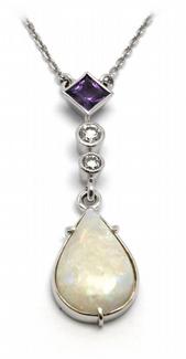 Zlatý diamantový náhrdelník s opálem,ametystem a diamanty 585/3,12gr J-17325-12