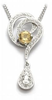Zlatý diamantový náhrdelník se žlutým safírem 585/5,01gr J-20935-12
