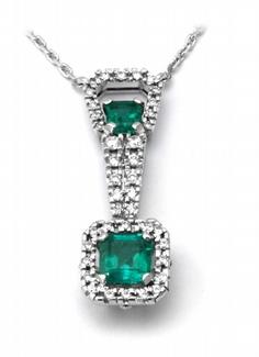 Zlatý diamantový náhrdelník s kolumbijskými smaragdy 585/5,70gr J-20282-11