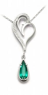 Zlatý diamantový náhrdelník s diamanty a smaragdem 585/5,27gr J-20406-11
