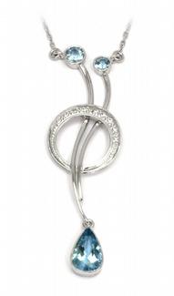 Zlatý diamantový náhrdelník s diamanty a akvamarínem 585/5,06gr J-20407-11