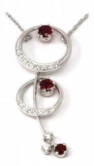 Zlatý diamantový náhrdelník s červenými rubíny 585/4,53gr J-20306-11