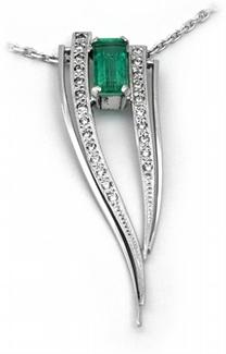 Zlatý náhrdelník s diamanty a kolumbijským smaragdem 585/5,56gr J-20221-11