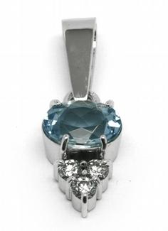 Diamantový zlatý přívěsek s brazilským akvamarínem 585/1,36 gr J-22242-13