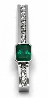Diamantový zlatý přívěsek s kolumbijským smaragdem 585/1,44 gr J-21661-12