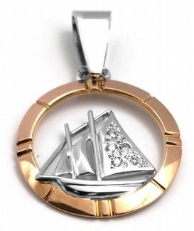 Diamantový zlatý přívěsek s diamanty plachetnice 585/2,17 gr J-21610-12